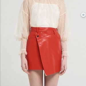 red faux leather wrap skirt